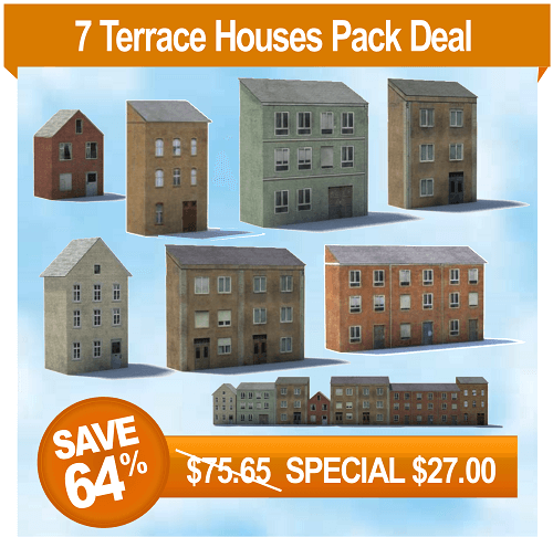 background model buildings for railroad backdrops