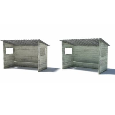 model railroad track bus shelters