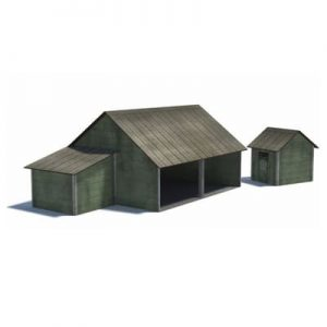 download - print - build ho scale tractor shed farm buildings