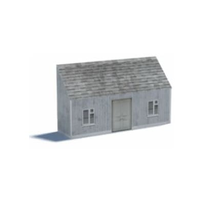 small gray cottage for ho scale background scene