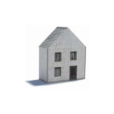 small white peak roof oo gauge house