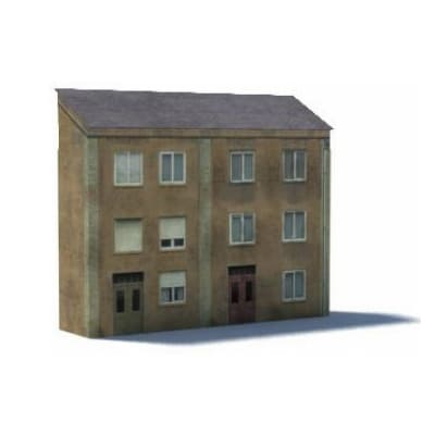 3 level tan terraced house paper model