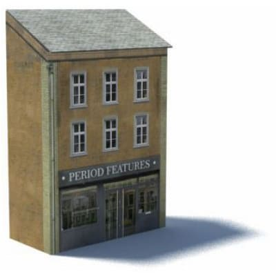 tan shop and city apartments ho scale