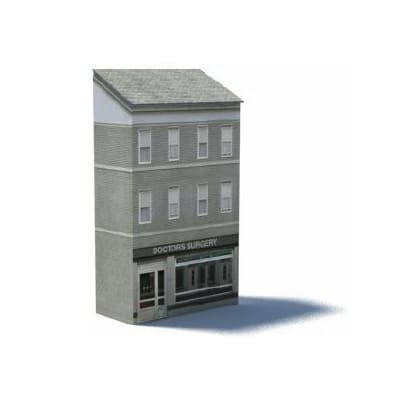 gray british terraced background ho scale building