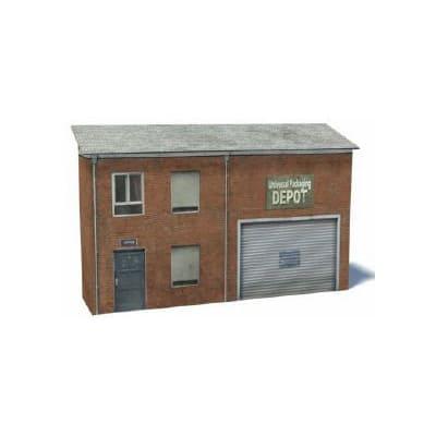 red brick railway yard warehouse backdrop
