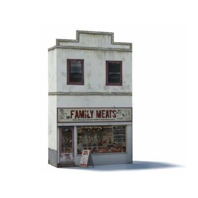 Butchers shop paper model kit