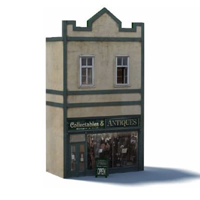 Antique model shop construct with paper card