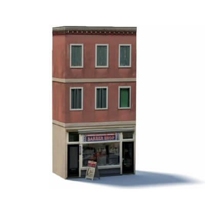 Barbers shop paper model kit