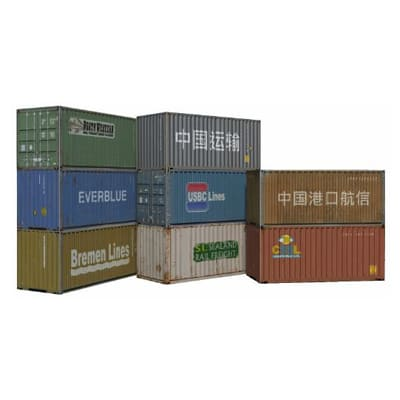 8 printable scale kits for 20ft shipping containers