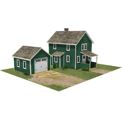 green home and garage model buildings