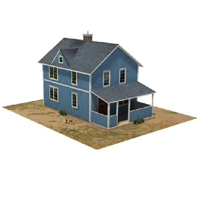 construct ho scale blue houses