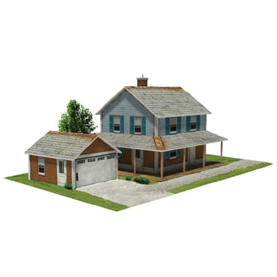 house and garage card models