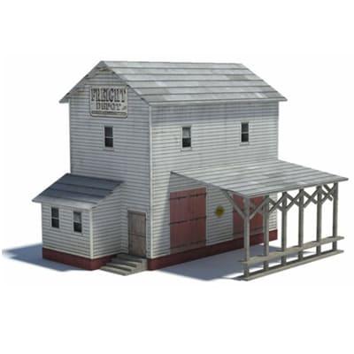 2 level paper railway freight depot