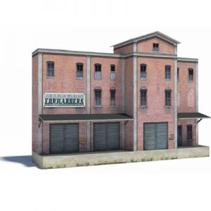 big pink industrial paper model kit building
