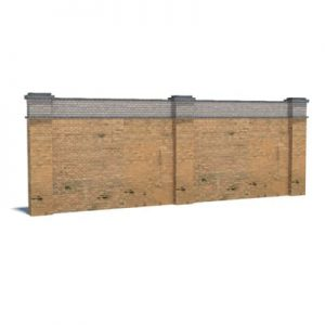 wall with tan brickwork for model railroads