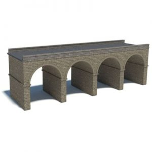 gray brick model railroad bridge