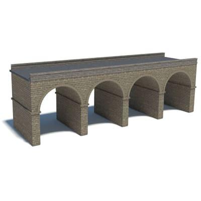 gray brick model railroad bridge
