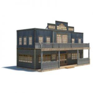 wild western cowboy saloon - ho scale model buildings