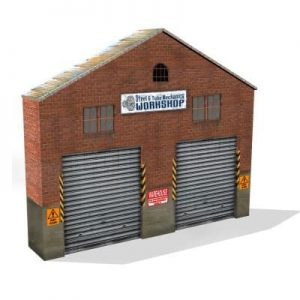 red brick background warehouse structure ho scale