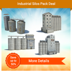 construct 4 industrial silos from scale paper models