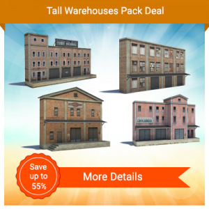 4 model railroad buildings for backdrops and backgrounds scenes