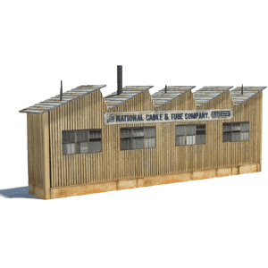 tan extendable railroad industry building - download, print, build