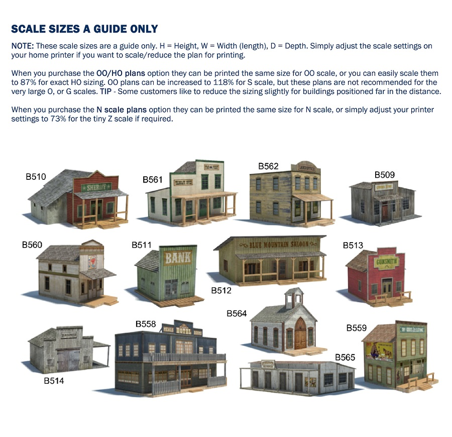 old wild western town structures scale model size charts