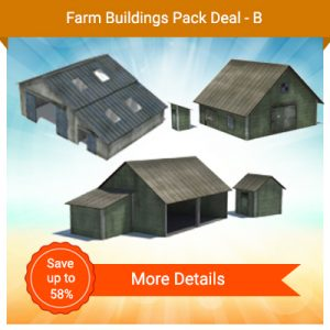 make scale model farm buildings - tractor shed, barns