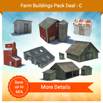 7 models of railroad farm building to construct