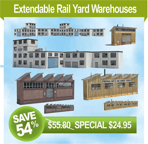 make rail yard background model buildings