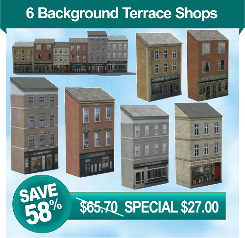 scale model paper plans for terraced shops and houses