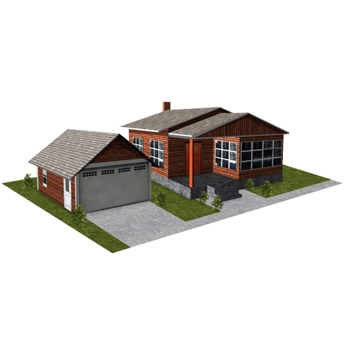 House - Brown Wood with Garage