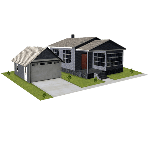 House - Gray Brick with Garage