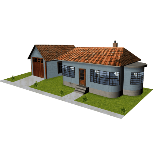 House - Gray Stucco with Garage
