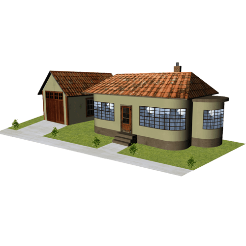 House - Green Stucco with Garage