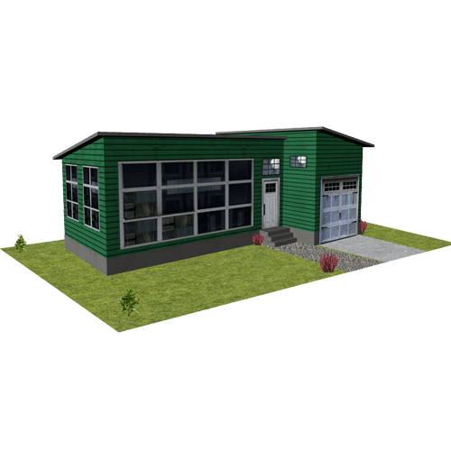 green timber paper model homes
