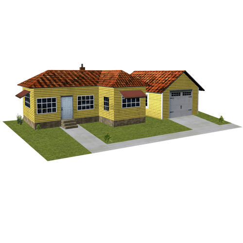 yellow ho scale buildings - home and garage