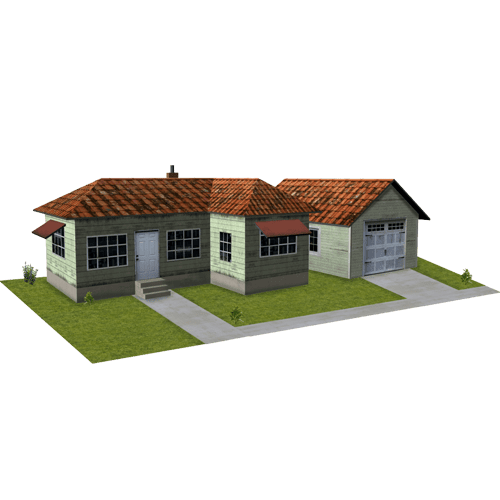 House - Light Green Wood with Garage