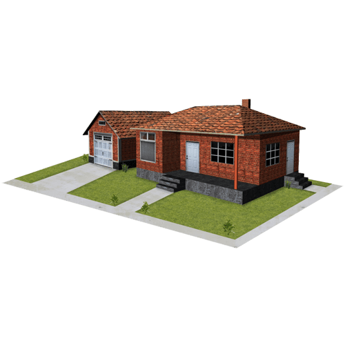 red brick house and garage paper models