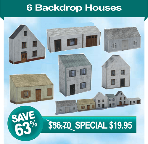 6 printable houses for model railroad background scene