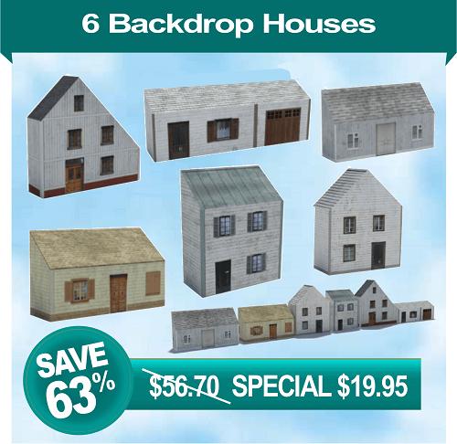 6 printable houses for model railroad background scene