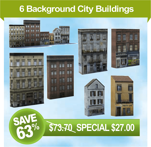 construct scale model background city buildings
