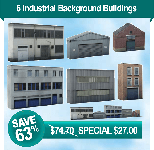 6 HO scale industrial background buildings for railroad industries