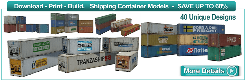 shipping container scale paper models to make