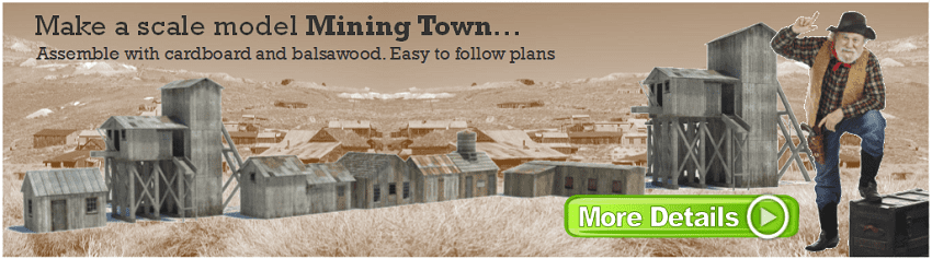 old west mining town models scale railroad buildings