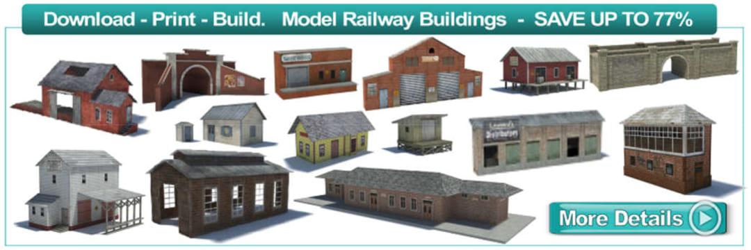 model railway train buildings