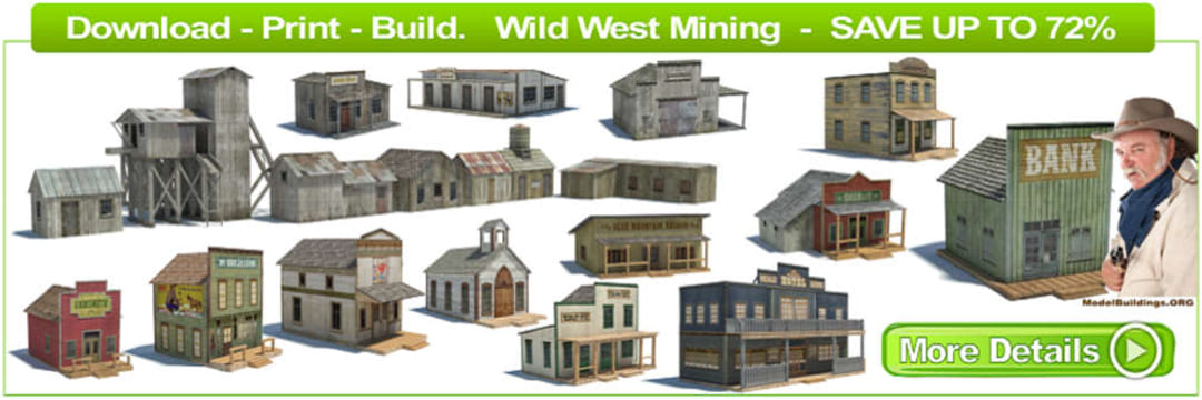 download old wild western paper models