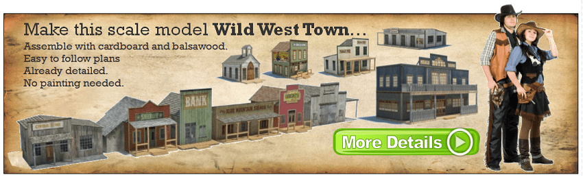 old wild western scale model building plans
