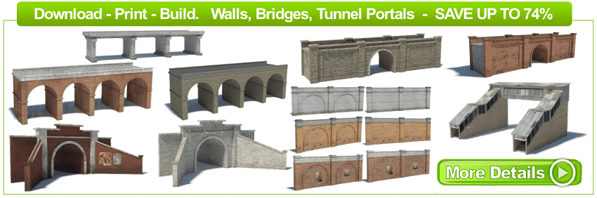 scale model buildings, bridges, walls, tunnel portals