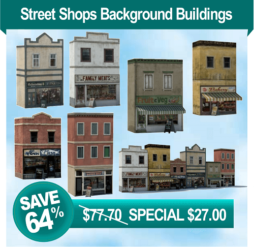 railroad model shops - printable background buildings